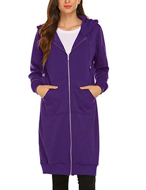 Women's Zip Up Long Tunic Sweatshirt Hoodie