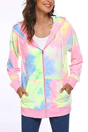 Women's Zip Up Fleece Tie Dye Sweatshirt Hoodie