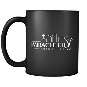 Miracle City Logo, Black Mug, 11oz