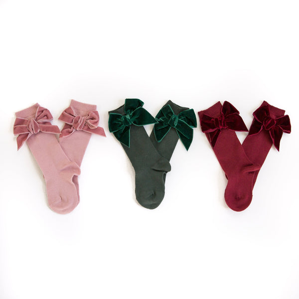 Velvet Bow Knee Socks Bundle
