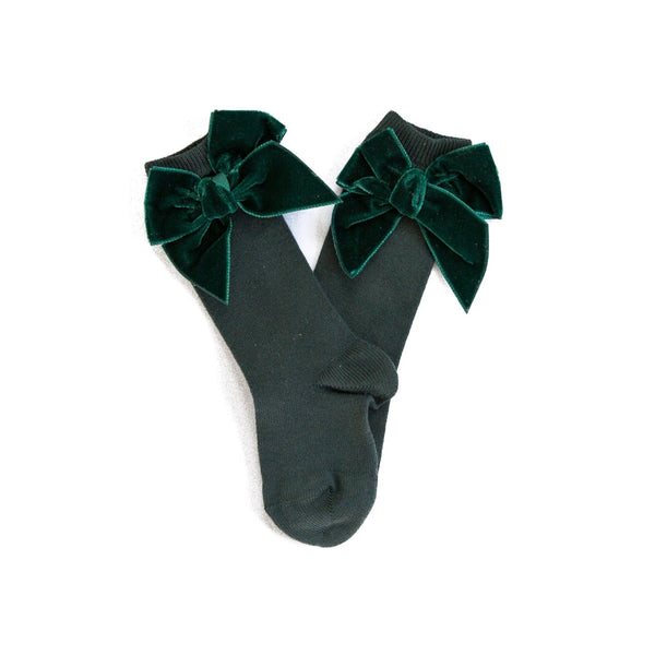 Forest Velvet Bow Knee Socks
