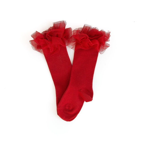Red Tulle Ruffle Knee Socks