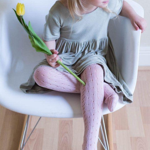 Pale Rose Crochet Tights