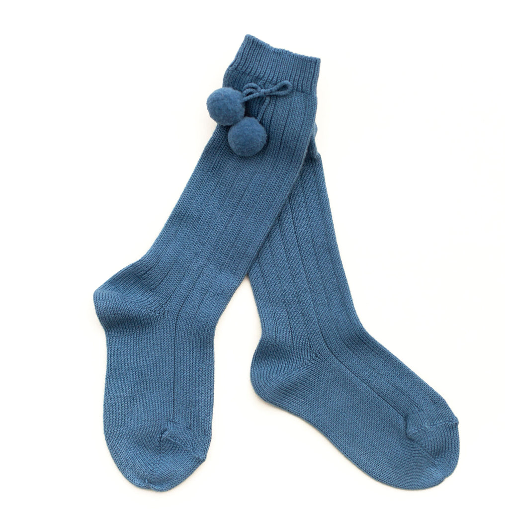 French Blue Pom Knee Socks