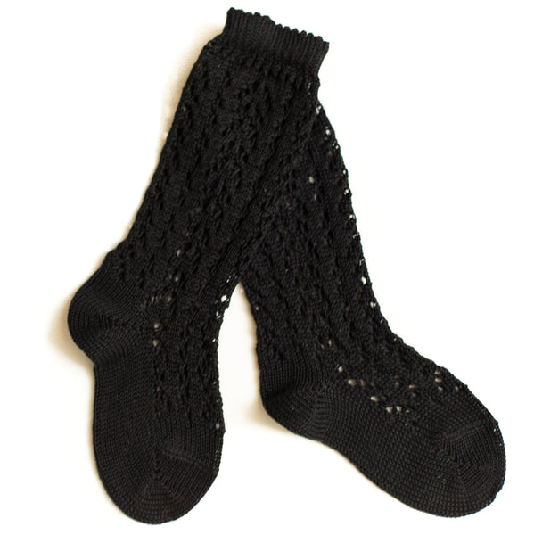 Black Crochet Knee Socks