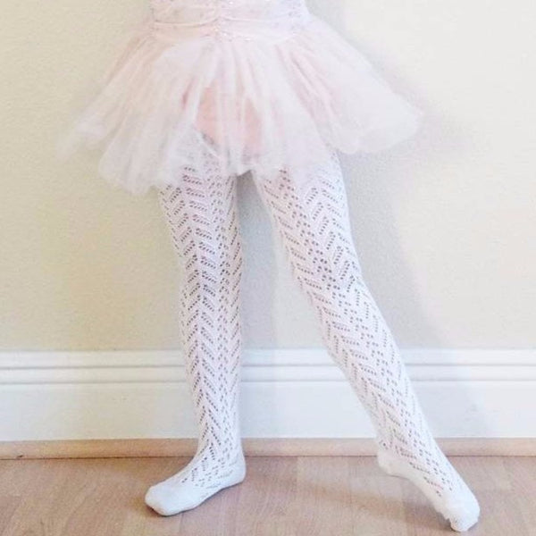 Cream Crochet Tights