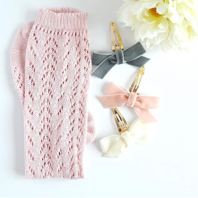 Rose Pink Crochet Knee Socks