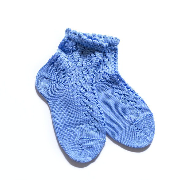 China Blue Crochet Short Socks