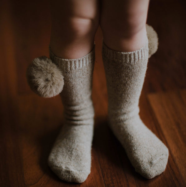 Dune Knee Socks with Faux Fur Pom