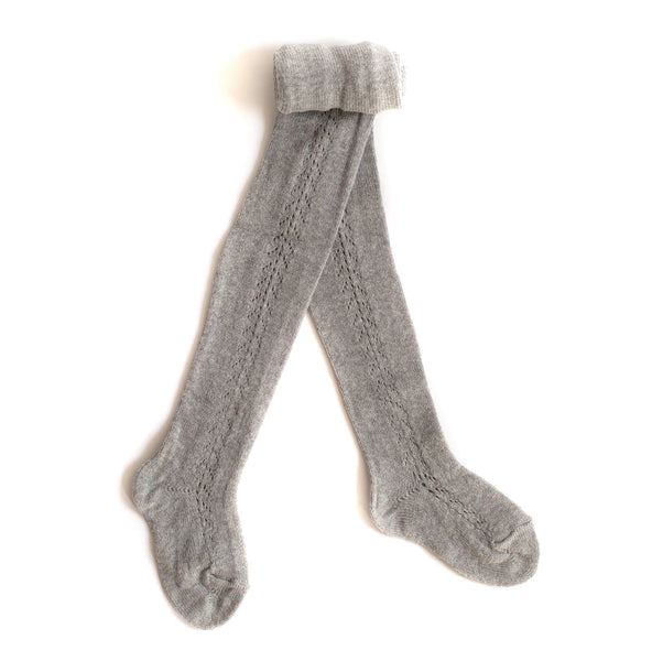 Heather Grey Side Crochet Tights