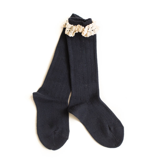 Navy Lace Cuff Knee Socks