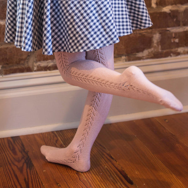Powder Pink Side Crochet Tights