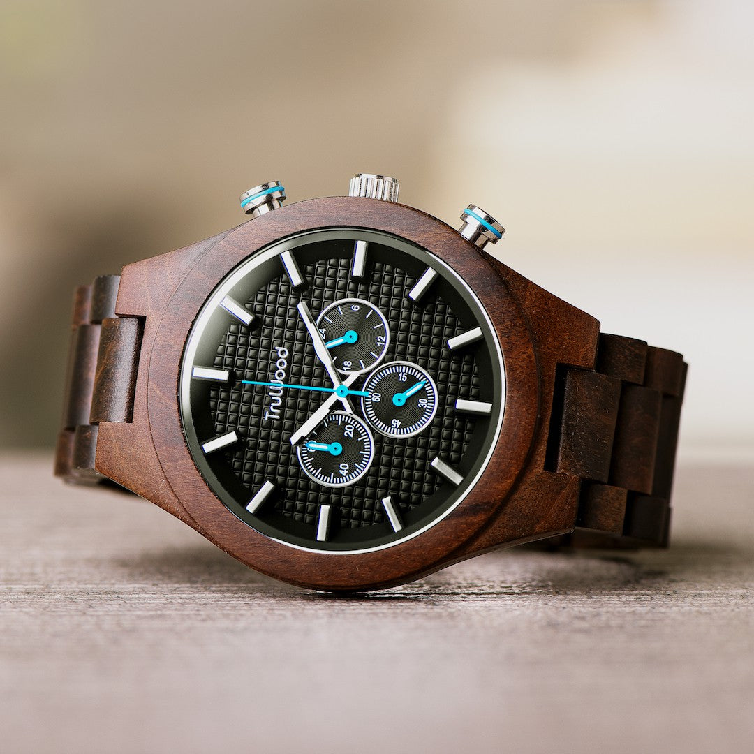 truwood chronograph wooden tripple dial watch
