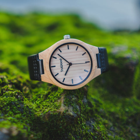 TruWood leather wood watch men