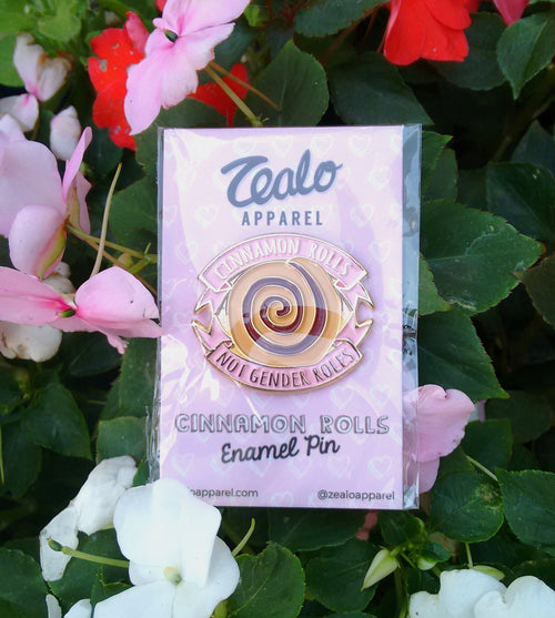 Cinnamon Rolls Not Gender Roles enamel pins are back in stock!