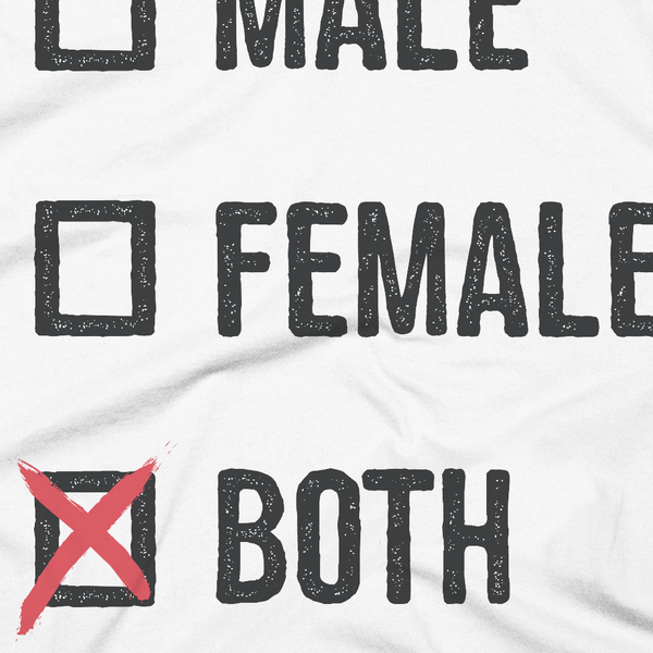 LGBTQ Pride Shirts - Pronouns Checkbox Gender T-Shirt - Male Female Both (White, Close-Up) - Zealo Apparel