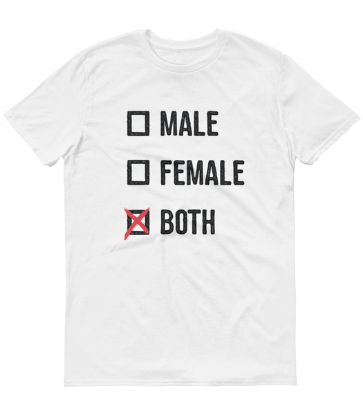LGBTQ Pride Shirts - Pronouns Checkbox Gender T-Shirt - Male Female Both (White)