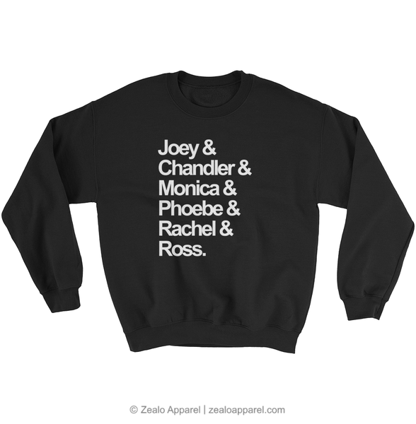 Friends TV Show Squad Goals Sweatshirt Black - Zealo Apparel Sweaters