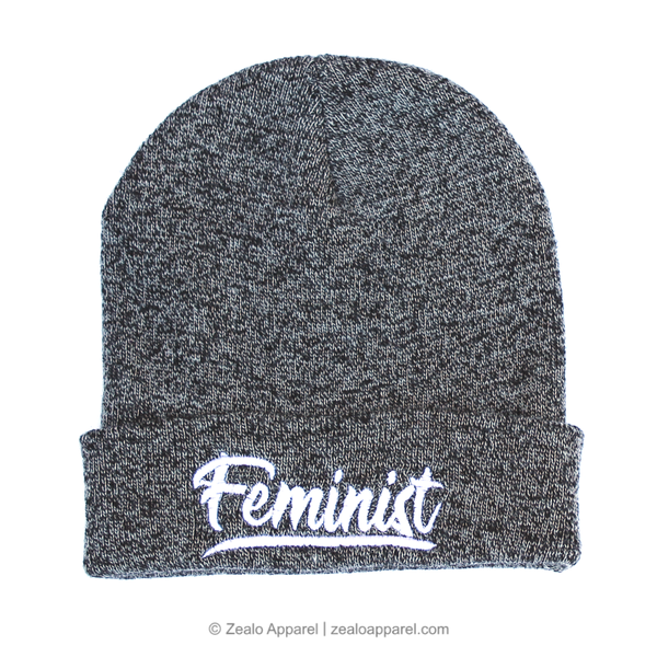Feminist Beanie, Grey Marl - Zealo Apparel feminism hats & accessories