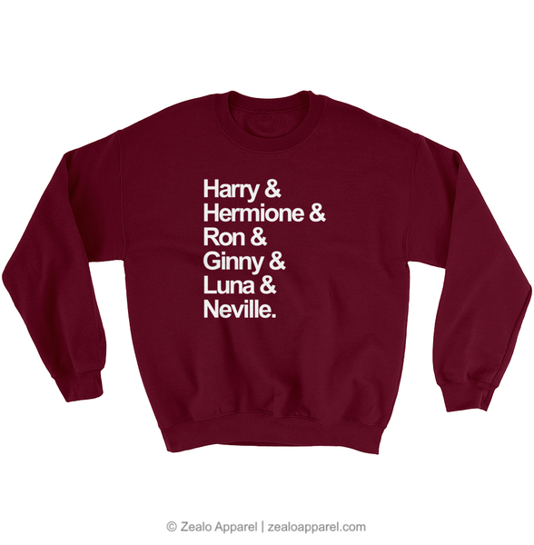 Harry Potter Squad Goals Sweatshirt Burgundy - Zealo Apparel Sweaters
