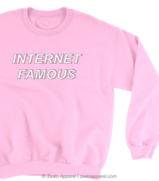 Internet Famous Pastel Pink Sweatshirt Close-Up - Zealo Apparel Sweaters