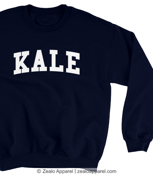 Kale Varsity Sweatshirt Navy (close-up) - Zealo Apparel Sweaters