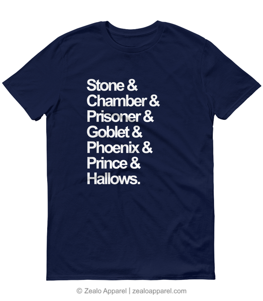 Stone & Chamber & Prisoner & Goblet & Phoenix & Prince & Hallows - Magical Nouns T-Shirt Navy Blue - Zealo Apparel Shirts