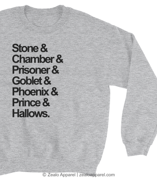 Magical Nouns Sweater reads Stone & Chamber & Prisoner & Goblet & Phoenix & Prince & Hallows (close-up) - Zealo Apparel sweatshirts