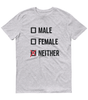 LGBTQ Pride Shirts - Pronouns Checkbox Gender T-Shirt - Male Female Neither (Grey Marl) - Zealo Apparel