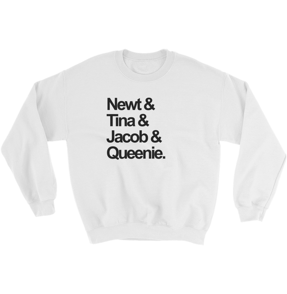 Newt & Tina & Jacob & Queenie - FBAWTFT Newt Squad Goals Sweatshirt White - Zealo Apparel Sweaters