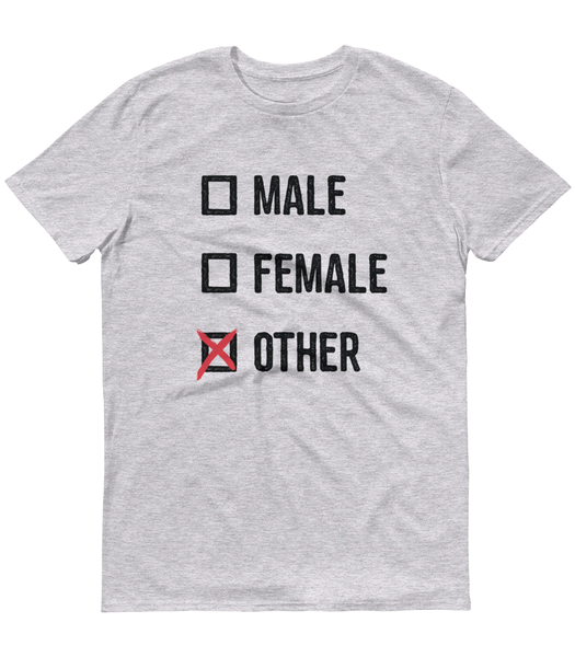 LGBTQ Pride Shirts - Pronouns Checkbox Gender T-Shirt - Male Female Other (Grey Marl) - Zealo Apparel