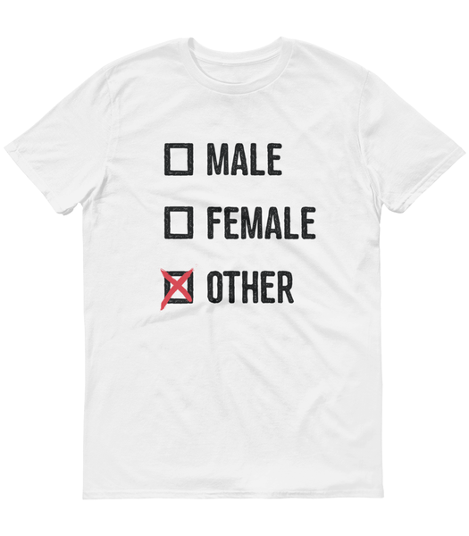 LGBTQ Pride Shirts - Pronouns Checkbox Gender T-Shirt - Male Female Other (White) - Zealo Apparel