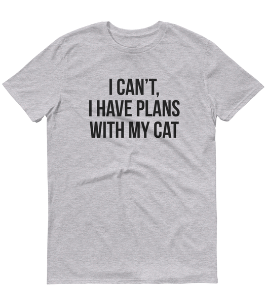I Can't I Have Plans With My Cat T-Shirt Grey Marl - Zealo Apparel