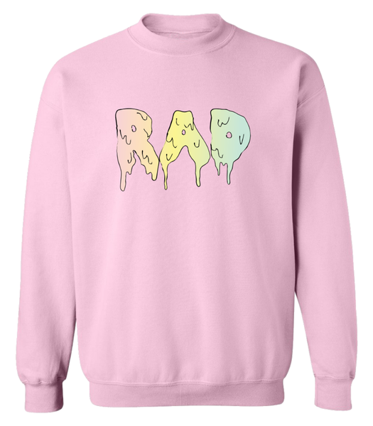 Tumblr Collage Style Drip Text Pastel Rad Sweatshirt Pink - Zealo Apparel Sweaters