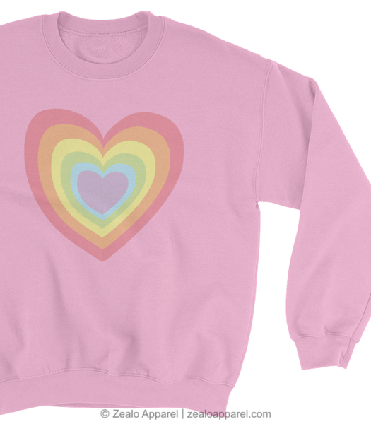 LGBTQ Pride Tumblr Aesthetic Pastel Rainbow Heart Pink Sweatshirt Close-Up - Zealo Apparel Sweaters