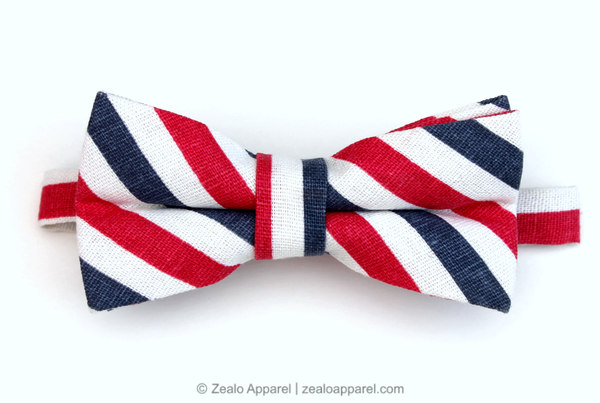 Red, White & Blue Linen Bow Tie - Zealo Apparel accessories