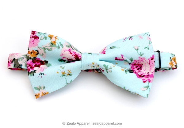 Pastel Floral Bow Tie (front) - Zealo Apparel Ties