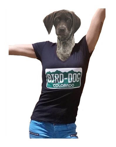 Bird Dog BBQ V Neck Women's License Plate T-Shirt