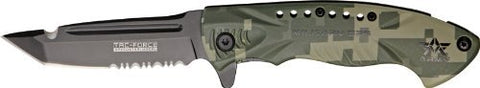 Tac Force Knives 685DAR Army - Part Serrated Linerlock A/O Knife with Grooved OD Green Digital Camo Aluminum Handles