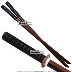 Ace Martial Arts Supply Kendo Wooden Bokken Practice Katana Sword Set (2-Piece)