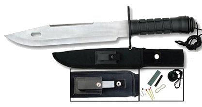 "Silver Ultimate Survival Knife 15"" w/ Compass"