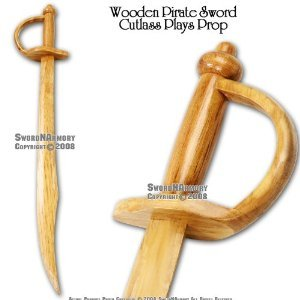 "30 "" Wooden Pirate Practice Sword Cutlass Plays Prop"