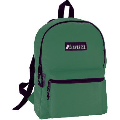 Everest Bags Classic Style Backpack School Backpacks, Dark Green