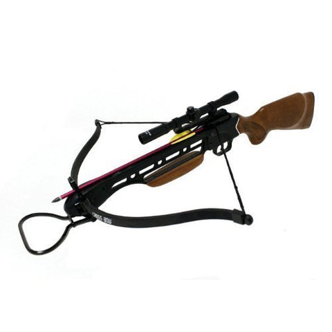 150lbs Wood Crossbow with Scope, Extra Arrows and Rope Cocking Device