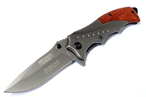 "8"" Defender Extreme Grey Folding Spring Assisted Knife with Belt Clip"