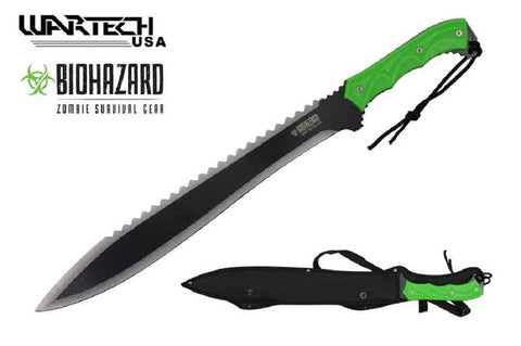 "Ace Martial Arts 25"" BIOHAZARD Zombie Green Machete With Two Toned Blade And Black Nylon Sheath"