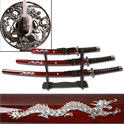 Ace Martial Arts Deluxe Red Dragon Katana Samurai Sword 3pc Set w/ stand