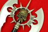 Steel Medieval Skull Gothic Battle Double Axe w/ Plaque