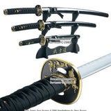 Japanese Bushido Tiger Samurai Katana Sword Set Black