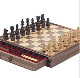 DELUXE WALNUT CHESS & CHECKER GAME GIFT SET + BONUS STORAGE PLAYING BOARD
